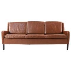 Danish Midcentury Borge Mogensen Style Leather Sofa