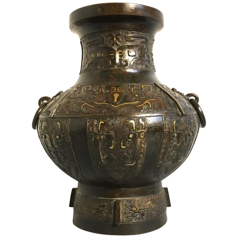 Chinese Qing Dynasty Archaistic Bronze Parcel-Gilt Hu Vase, Mid-18th Century 1