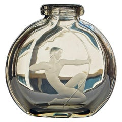 """Nude Male Archer,"" Rare, Lovely Art Deco Engraved Glass Vase, Sweden"