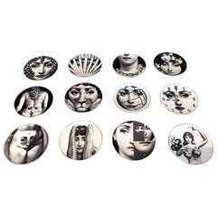 "Set of 12 Iconic ""Julia"" Plates by Fornasetti"