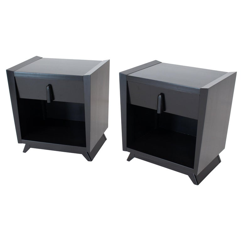 Pair of Black Lacquer One Drawer End Tables or Nightstands