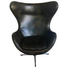 Arne Jacobsen Style Brown Leather Egg Swivel Chair Aluminum Danish Modern