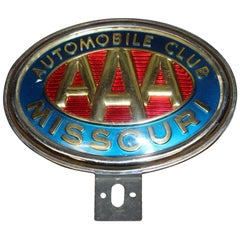 Original AAA Automobile Club Missouri Vintage License Plate Topper Original AA