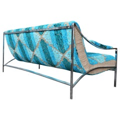 1970s Chrome Flat Bar Floating Sofa-Designer Guild Ombre Effect Jacquard Velvet