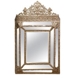 Mirror in Louis XIV Style in Embossed Silver Plated Brass, France, 19th Century