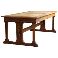 Old Library Trestle Table, Oak, Early 20th Century