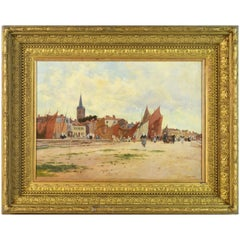 'Harbor Scene, Brittany' by Luigi Loir, Austrian/French Impressionist, 1845-1916