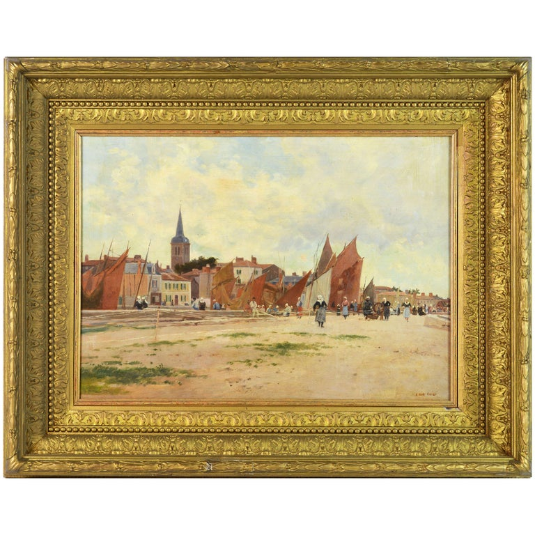 'Harbor Scene, Brittany' by Luigi Loir, Austrian/French Impressionist, 1845-1916 For Sale