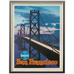 "San Francisco ""Golden Gate Bridge"" Santa Fe Railroad Travel Poster"