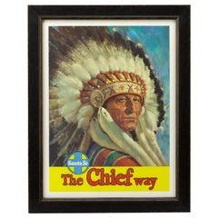 "American Indian ""Chief"" Santa Fe Railway Travel Poster, circa 1947"