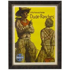 Santa Fe Railway Vintage Travel Poster, Southwestern Dude Ranches, circa 1949