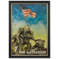 U.S. Marines Raising the Flag at Iwo Jima WWII 7th War Loan Poster, 1945