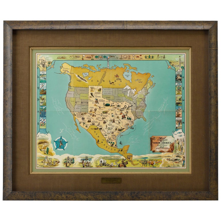 1948 Official Texas Brags Map of North America For Sale