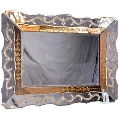 Hollywood Regency Venetian Mirror with Peach Colored Interior Edge, circa 1940