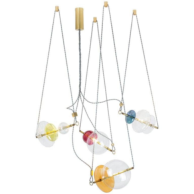 Trapezi Four Lights Pendant/Chandelier Polished Brass Colorful Handblown Glass For Sale