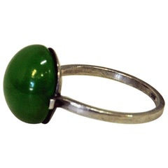 Petite Silver Ring with Pearl Round Green Stone 1950s, Sweden
