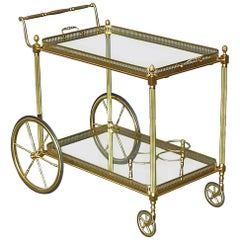 Brass Glass Bar Cart Serving Table Trolley, Maison Baguès Jansen, French, 1950s