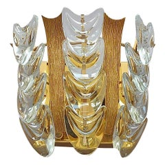 Signed Palwa Sconce Gilt Brass Metal Crystal Glass, 1960s