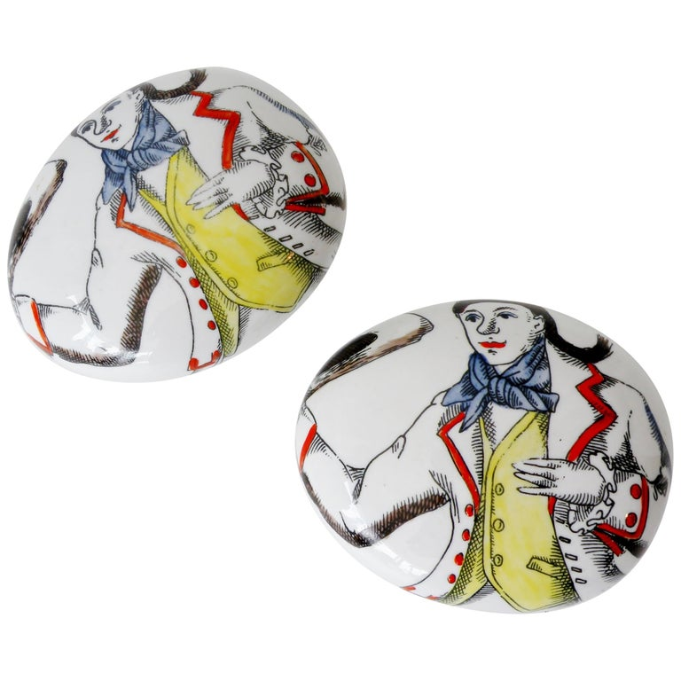 Pair of Piero Fornasetti Italy Porcelain Pebble Paperweights For Sale
