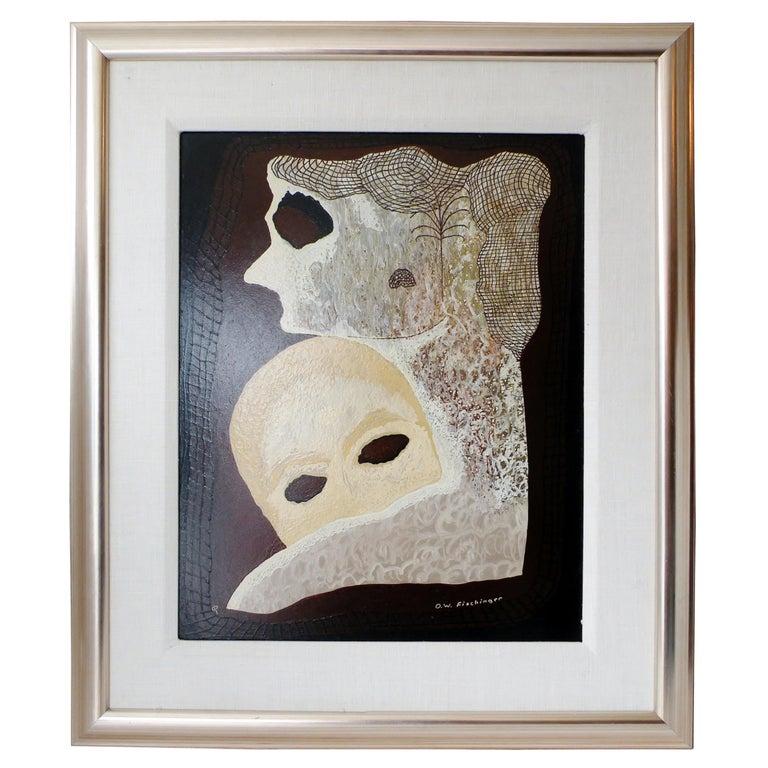 """Oskar Fischinger Surrealism Painting Titled """"Two Masks"""" 1956 For Sale"""