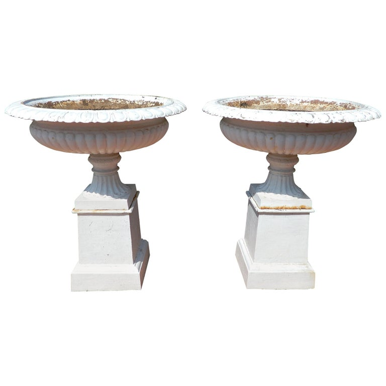 Cast Iron Pair of Garden Urns For Sale