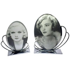 Matching Pair of Art Deco Chrome Picture Frames