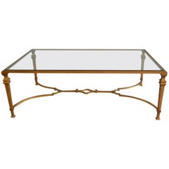 Wrought Iron Gilded Coffee Table with Glass Top, Rectangular