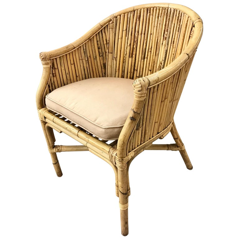 Pair of Matching Midcentury Bamboo Rattan Barrel Back Armchairs