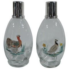 Hawkes Sterling Silver and Enameled Glass Rooster and Hen Decanters