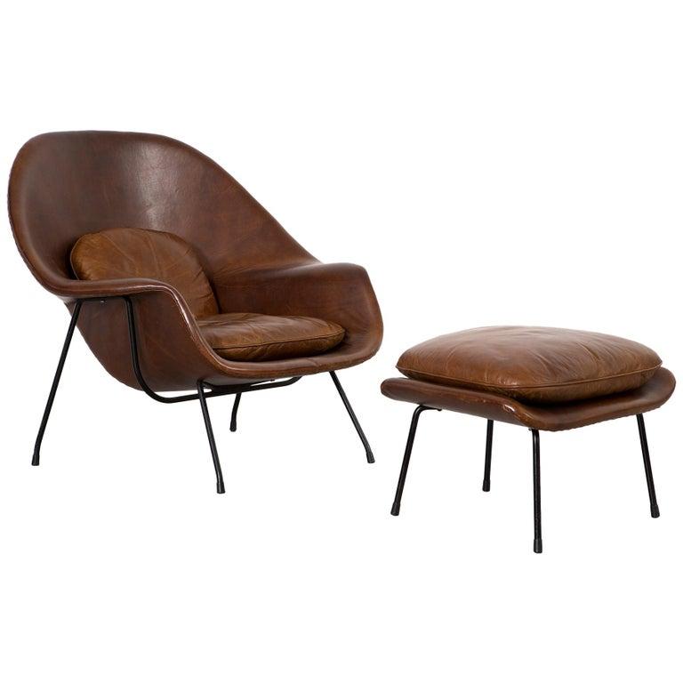 Mid-Century Modern Eero Saarinen for Knoll Womb Chair and Ottoman