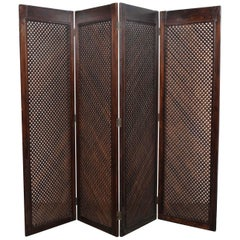1950s Midcentury Brazilian 4-Section Lattice Screen