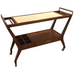 Walnut Console Bar Cart by Cesare Lacca for Baker Furniture