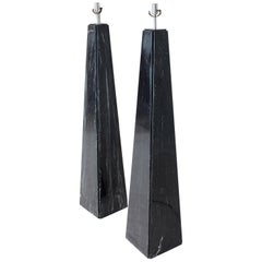 Pair of Black Marble Obelisk Shape Floor Lamps