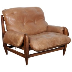 Jean Gillon Rosewood and Original Brown Leather Lounge Chair for Italma Wood Art