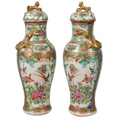 Pair of Chinese Canton Famille Rose Lidded Vases