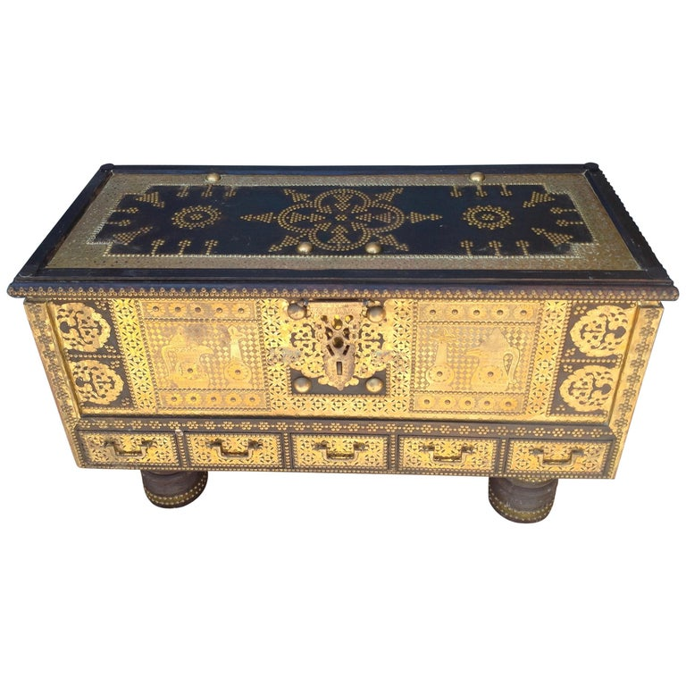 Exceptionally Elaborate Brass Appointed Moroccan Trunk For Sale