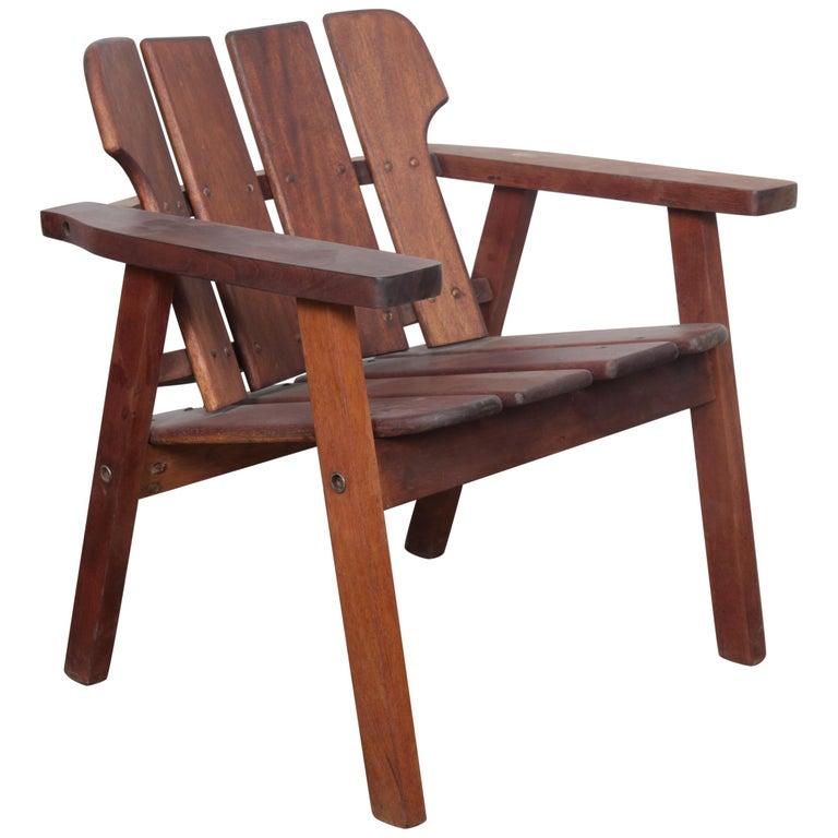 "Sergio Rodrigues ""Taj"" Solid Vinhatico Wood Slatted Chair, Brazil For Sale"