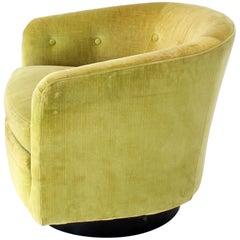 Milo Baughman Single Lounge Chair Swivel Barrel Back Velvet Upholstery