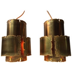 Pair of Brutalist Brass Pendant Lamps by Svend Aage Holm Sørensen, 1960s