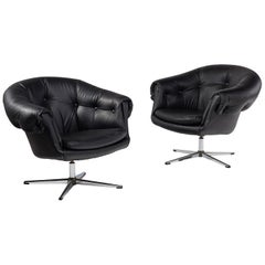 Mod Pod Lounge Chair Set in Black Tufted Vinyl - Chrome Four Star Bases