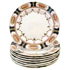 Antique English Porcelain Set of Eight Salad/Dessert Plates by, Bell China
