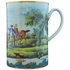 Large Tankard, Worcester, circa 1770, Later Decorated