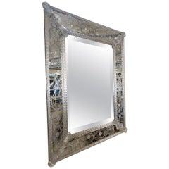 Spectacular 1920s-1930s Rectangular Venetian Mirror from France