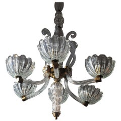 Chandelier by Barovier & Toso, Murano, 1940s