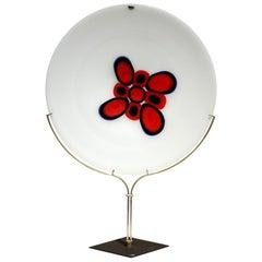 """Siena"" by Bruno Gambone for VeArt 1970s Murano Glass Plate"