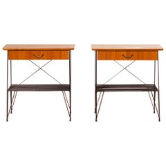 1950s, a Set of Teak and Black Metal Gullberg Style Nightstands Bedside Tables