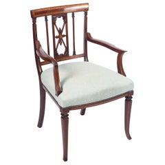 Antique Sheraton Revival Mahogany Inlaid Armchair, 19th Century