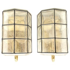 Midcentury Pair of Iron and Bubble Glass Wall Lights by Glashütte Limburg, 1960s