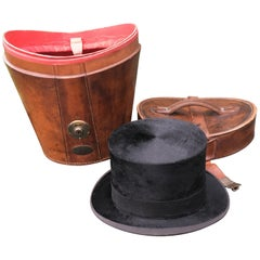 19th Century Top Hat in Leather Case, English, circa 1850