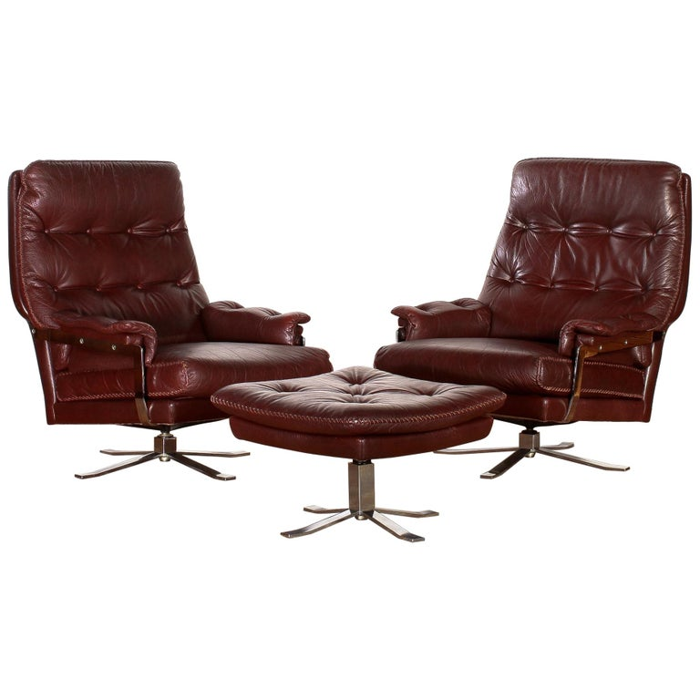 1960s, Chrome and Leather Swivel Lounge Chairs and Ottoman by Arne Norell For Sale